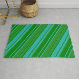 Forest Green, Green & Light Sea Green Colored Pattern of Stripes Rug