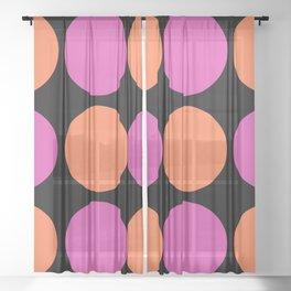 Mid Century Modern Polka Dot Pattern 9 Pink and Orange 2 Sheer Curtain