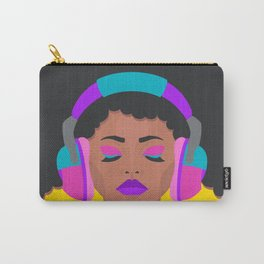More Music: Woman with Headphones Carry-All Pouch
