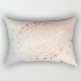 Rose Gold Blush Mint Floral Mandala Rectangular Pillow