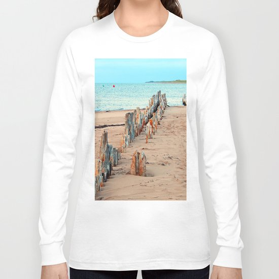 Wharf Remains on the Beach Long Sleeve T-shirt