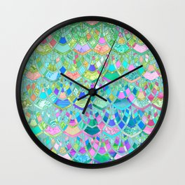 Art Deco Watercolor Patchwork Pattern 1 Wall Clock