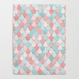 Mermaid Coral, Rose Gold, Pastel Pink, Aqua and Teal, Cute Colorful Pattern Poster