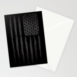 Grey American flag Stationery Cards