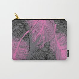 feathers quill pink grey Carry-All Pouch