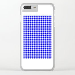 Gingham Blue and White Pattern Clear iPhone Case