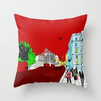 general Throw Pillows featuring General Public by bivisual