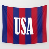 usa Wall Tapestries featuring USA by Caio Trindade