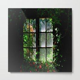 Secret garden window Metal Print