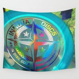 Disc Golf Boss Frisbee Blue Crystal Rainbow First Run Proto Wall Tapestry