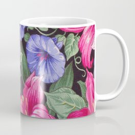 Large Pink and Purple Flowers with Green Leaves Coffee Mug