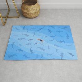 Shark Beach Swimmer  Rug