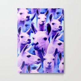 Llama Alpaca pink purple cute funny pop culture animal Metal Print
