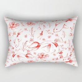Watercolor KOI Fish in red Rectangular Pillow