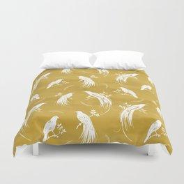 Birds of paradise mustard/white Duvet Cover