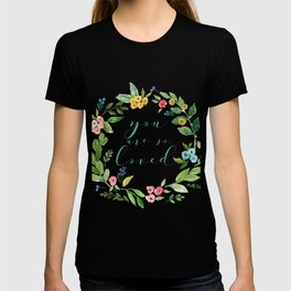You Are So Loved floral wreath teal T-shirt