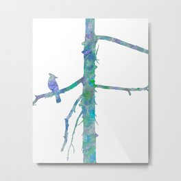 Bluejay On A Tree Watercolor Painting Metal Print