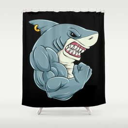 Shark At The Gym | Fitness Training Muscles Shower Curtain