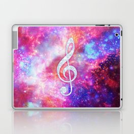 Galaxy Nebula Glitter Music Note Pink Space Laptop & iPad Skin