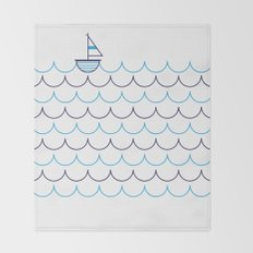 Sail Boat on Water Throw Blanket