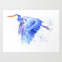 Blue Heron Splash Art Print