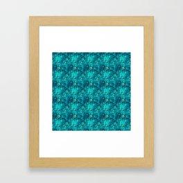 Teal Flowers Framed Art Print