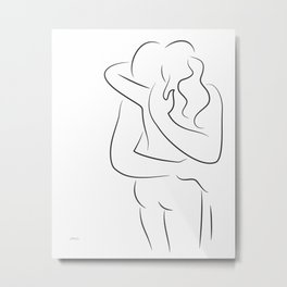 Romantic embrace drawing for bedroom. Minimalist couple sketch. Metal Print