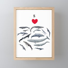 I love whales design Framed Mini Art Print