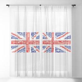 Great Britain Landmark Flag Sheer Curtain