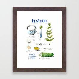 illustrated recipes: tzaziki Framed Art Print