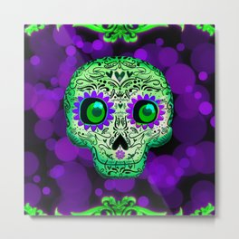 Green & Purple Whimsical Skull Metal Print