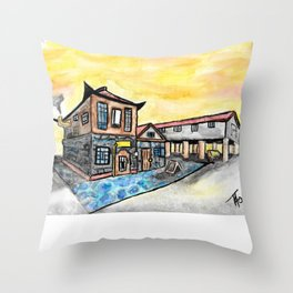 Asian Steampunk Marketplace Throw Pillow