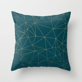 Benjamin Moore Hidden Sapphire Gold Geometric Pattern Throw Pillow