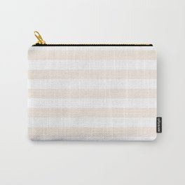 Narrow Horizontal Stripes - White and Linen Carry-All Pouch