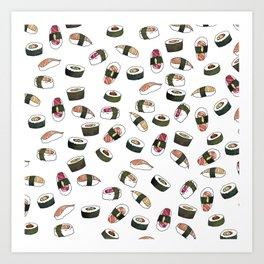 Sushi on White Art Print
