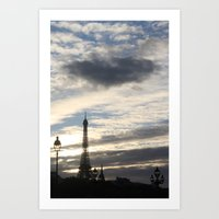 eiffel tower Art Prints featuring Eiffel Tower by Ellen Wappett