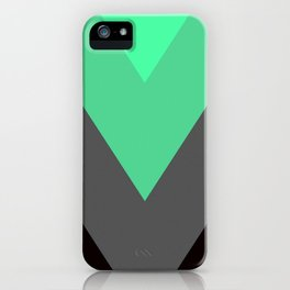 Mint Green Gray Chevron Stripes iPhone Case