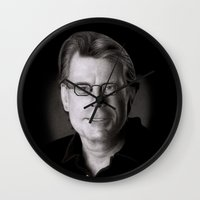 stephen king Wall Clocks featuring Stephen King by Giampaolo Casarini