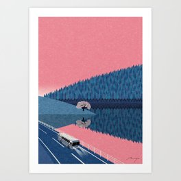 Lake in the morning Art Print
