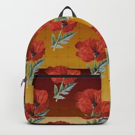Red poppy floral pattern warm colors Backpack