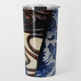 Brownie Cheesecake on Blue Willow Plate Travel Mug