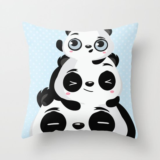 Panda family Throw Pillow