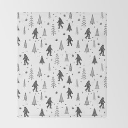 trees + yeti pattern Throw Blanket
