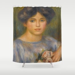 """Auguste Renoir """"Jeune fille aux roses (Young girl with flowers)"""" Shower Curtain"""