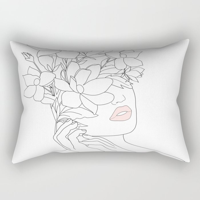 Minimal Line Art Woman with Magnolia Rectangular Pillow
