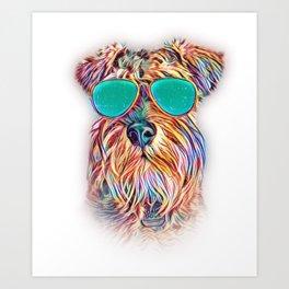 Miniature Schnauzer Colorful Neon Dog Sunglasses Art Print