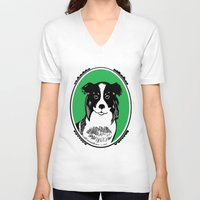 border collie V-neck T-shirts featuring Border Collie Printmaking Art by Artist Abigail