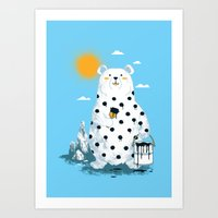 polka Art Prints featuring polka bear by Steven Toang
