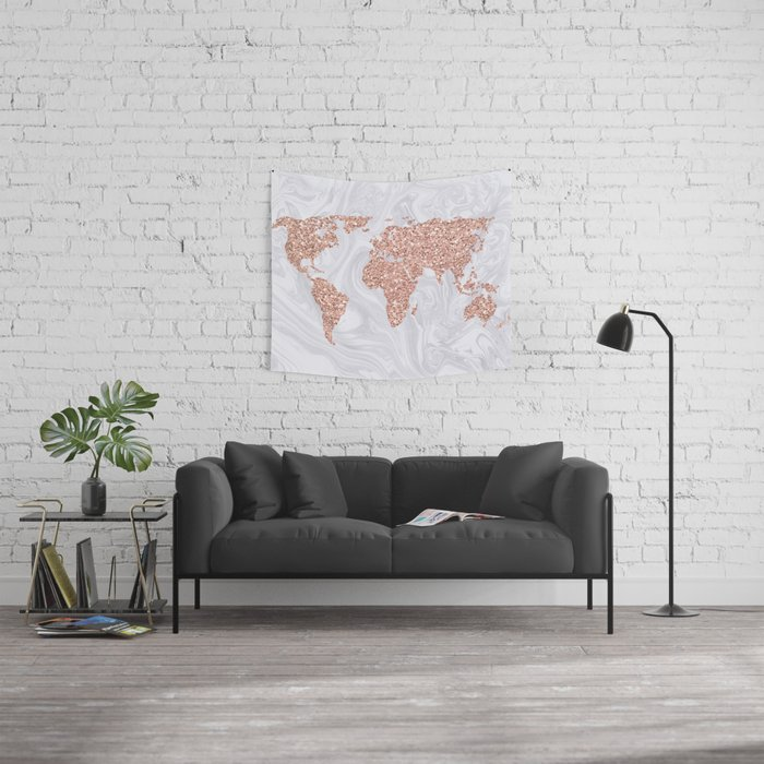Rose Gold Glitter World Map on White Marble Wall Tapestry