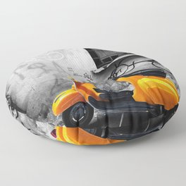 Orange Vespa in Bologna Black and White Photography Floor Pillow